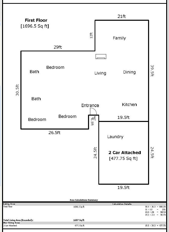 How to calculate total square feet of a house house plan for Find sq footage